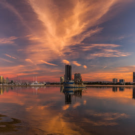 The Spit by Callie Black - Landscapes Sunsets & Sunrises ( spectacular, waterscape, gold coast, sunset, cityscape )
