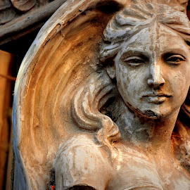 She knows - how to speak through her eyes  by Santanu Goswami - City,  Street & Park  Historic Districts ( structure, statue, lady, kumartuli, street photography )