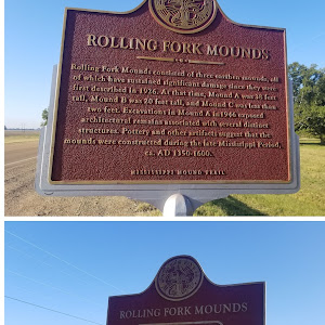 Rolling Fork Mounds consisted of three earthen mounds, all of which have sustained significant damage since they were first described in 1926. At that time, Mound A was 38 feet tall, Mound B was 20 ...