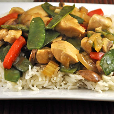 Stir Fried Chicken with Mushrooms and Snow Peas