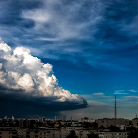 threat cloud by Marius Olbosan - City,  Street & Park  Street Scenes ( sky, dangerous cloud, cloud, beauty in nature, cityscape, city )