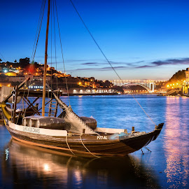Porto by Nick Moulds - Transportation Boats ( boats, night, portugal, dusk, river, porto )