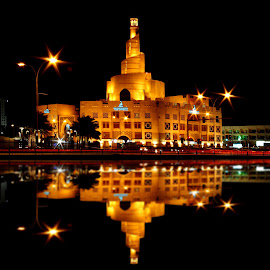 Islamic Mosque of Qatar by Biman Sarkar - Buildings & Architecture Places of Worship ( architechture, roda, mosque, doha, reflections, night, qatar, yellow,  )