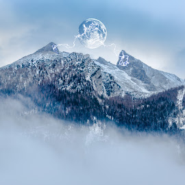 mystic mountain color by Christoph Reiter - Digital Art Places ( moon, mountain )
