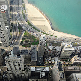 Sky view of Chicago Lakeshore Drive by T Sco - Buildings & Architecture Office Buildings & Hotels ( great lake, building, lake michigan, cars, lakeshore drive, lake, transportation, architecture, beach, chicago,  )