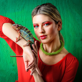 by Vikram Mehta - People Body Parts ( red, girl, hdr, green, makeup, sharp eyes, chameleon )