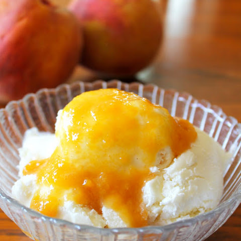 Homemade Ice Cream with Peach Sauce