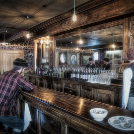 Men At The Bar by Garry Dosa - Artistic Objects Still Life ( bar, outdoors, old, saloon, vintage, cruise, people )