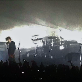 The 1975 by Davina Michelle - People Musicians & Entertainers ( the 1975, music, concert, piano, silhouette, back light, singer, drums, people, band, fog, men, crowd, downtown )