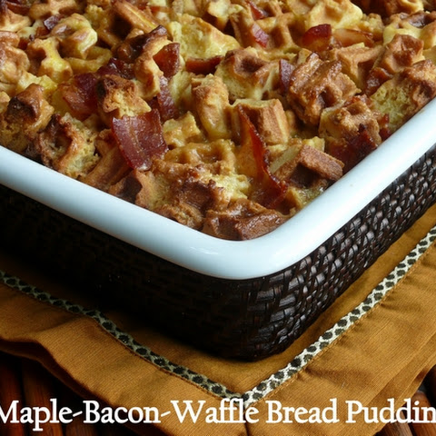 Maple-Bacon-Waffle Bread Pudding