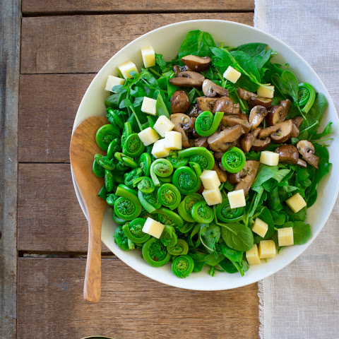 Marinated Mushroom And Fiddlehead Salad With Swiss Cheese