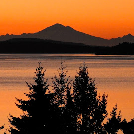 Mount Baker at dawn by Campbell McCubbin - Landscapes Sunsets & Sunrises ( dawn, mountain, mt. baker, ocean, sunrise )