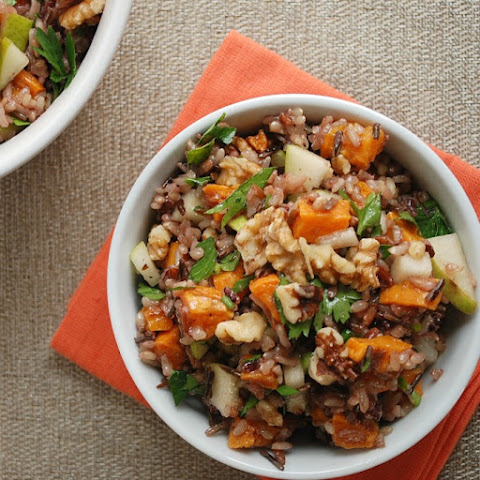 Wild Rice, Pear & Roasted Sweet Potato Salad With Walnuts