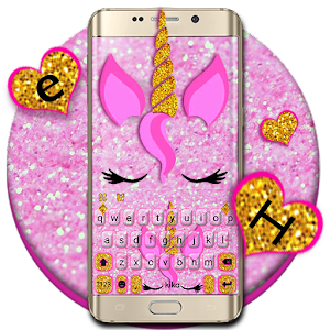 Pink Glisten Unicorn Cat Keyboard Theme