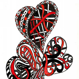 Connections by Nancy Bowen - Drawing All Drawing ( hearts, red, white, trio.connected, black )