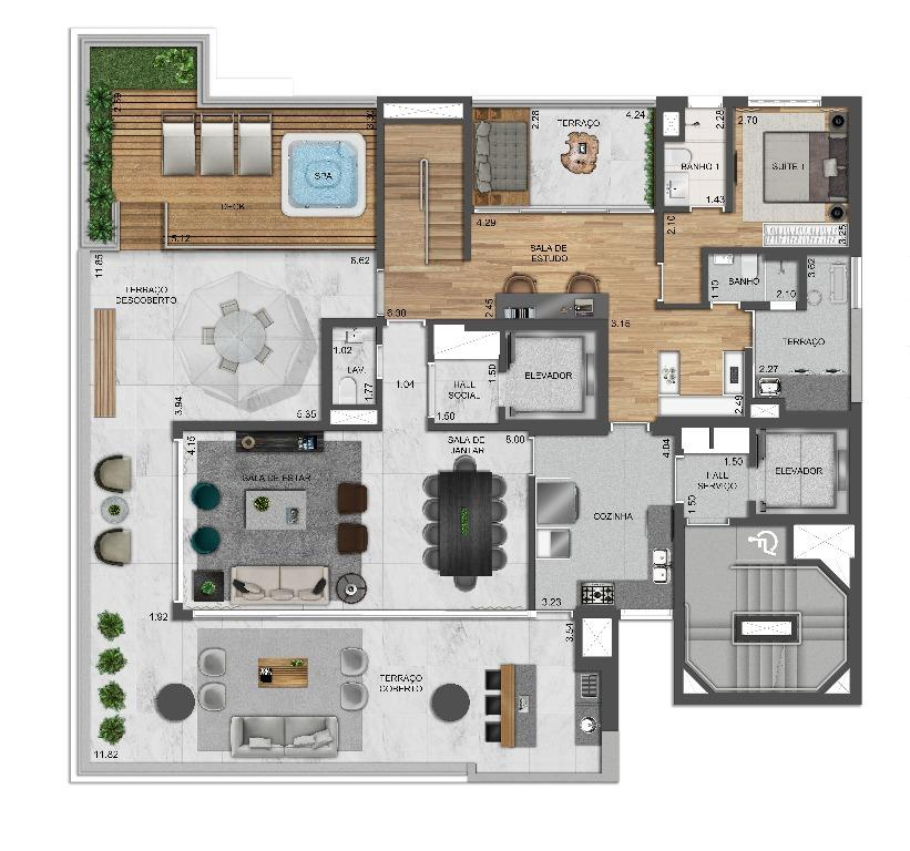 Planta Cobertura Duplex Inferior - 374 m²