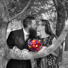 Kiss Under The Tree by Amanda Saxton-Jenson - Wedding Bride & Groom (  )