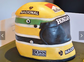 Racing helmet shaped cake