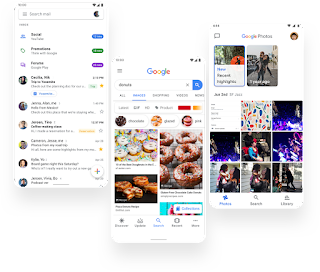 Gmail, Google Search and Google Photos toggling from light to dark UI