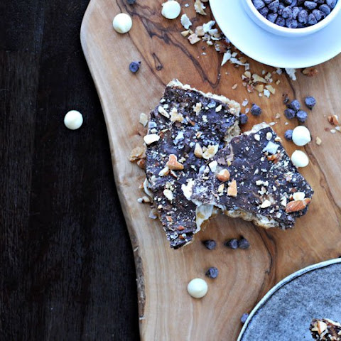 Salted Chocolate Cracker Crack (saltine Toffee) With Roasted Almonds