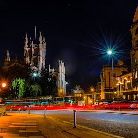 Bath Abbey, Bath, UK by Jennifer Tsang - City,  Street & Park  Street Scenes ( uk, bath abbey, bath, nightscape, landmark, travel, night, lights, city, city at night, street at night, park at night, nightlife, night life, nighttime in the city )