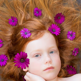 purple daisy by Alisa German - Babies & Children Child Portraits ( little girl, fairy, children, flowers, red head )