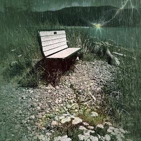 The Rain Storm by Pam Blackstone - Digital Art Places ( thunder, lightning, bench, rain storm, beach, storm, rain )