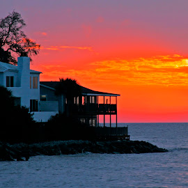A Contrast in Color by Harry James - Landscapes Sunsets & Sunrises ( coastal georgia, golden isles, color, saint simons island, architecture, beach, sunrise, island )