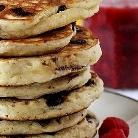 Buttermilk Chocolate Chip Pancakes with Raspberry Sauce