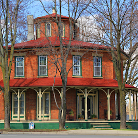 Octagon House by Marsha Biller - Buildings & Architecture Homes ( brick, trees, octagon shape, house, large porch,  )