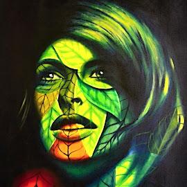 A Portrait of Woman by Marcel Cintalan - Illustration People ( coloured, woman, illustration, havana, portrait, cuba )