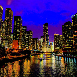 Chicago River at Night by Amber Anderson - City,  Street & Park  Night ( skyline, night, chicago, river )