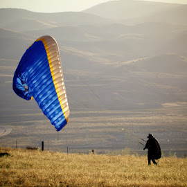 End of a Flight by Linda Cook - Sports & Fitness Other Sports ( flying, paragliding, pilots, wings, sports )