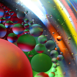 Into the Circle by Janet Herman - Abstract Macro ( lights, water, abstract, circles, macro, colors, ellipses, reflections, orbs, droplets, oil )