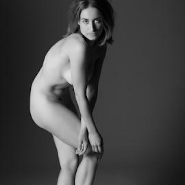Liz Full Length on Grey by Ian Cartwright - Nudes & Boudoir Artistic Nude ( body, model, nude, monochrome, beauty )