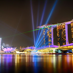 Marina Bay Sands Singapore Laser Show by Cuandi Kuo - Travel Locations Landmarks