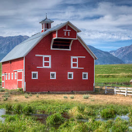 Oregon Barn by Ken Smith - Buildings & Architecture Other Exteriors ( oregon, red barn, wallowa mountains )