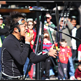 Snacking the Hard Way by Talbot Brooks - People Musicians & Entertainers ( juggling, apple, australia, circular quay, in the air, street scene, street performer, knives, street photography )