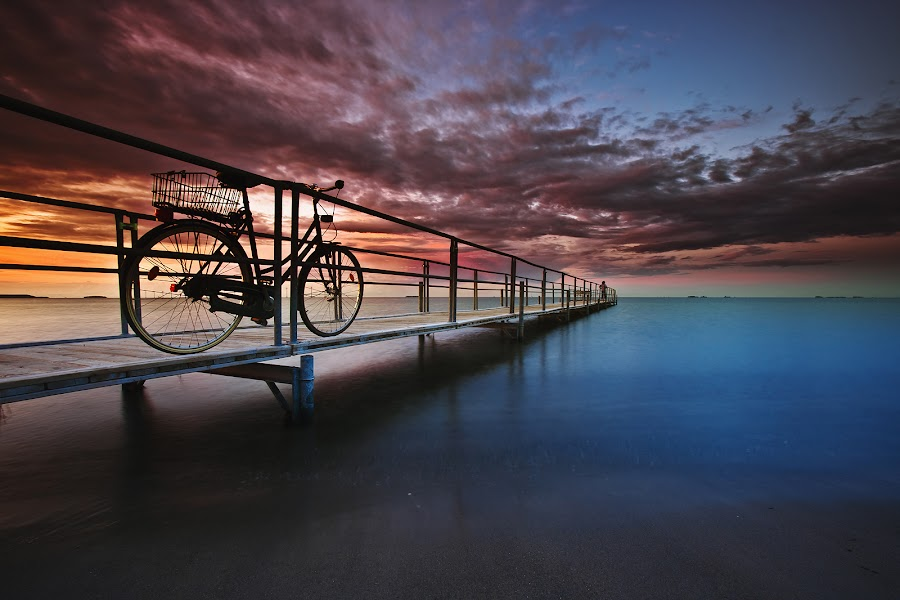 At The Beach by Zoran Đekić - Landscapes Waterscapes ( copenhagen, bike, sunset, silence, amager, beach )