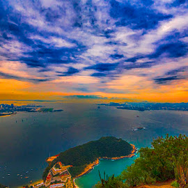 Rio from above by Pravine Chester - Landscapes Waterscapes ( clouds, rio, sunset, sea, ocean, landscape )