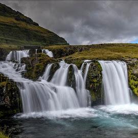 Kirkjufellsfoss 3 by Jen St. Louis - Landscapes Travel ( snaefellsnes, waterfall, iceland, kirkjufellsfoss,  )