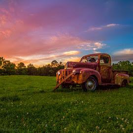 by Steve Hucks - Transportation Other ( field, truck, sunset, ford )
