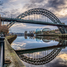 The Tyne At Sunrise by Adam Lang - City,  Street & Park  Vistas ( sage, gateshead, millennium bridge, newcastle, tyne bridge )