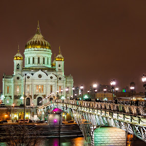 Moscow ,Cathedral of Chist the Saviour by Nikos Pa - Buildings & Architecture Places of Worship ( russia, church, christ, moscow, night, cathedral, worship )