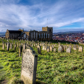 Saint Mary's Graveyard by Mark Holm - City,  Street & Park  Historic Districts ( england, yorkshire, saint mary's, whitby, graveyard )