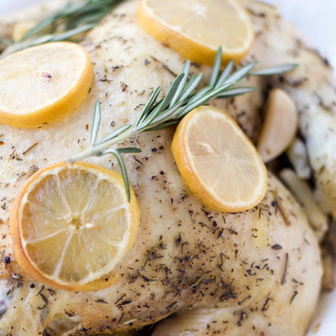 Slow Cooker Lemon Rosemary Whole Chicken