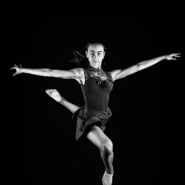 Andrea by Bojan Stanulov - Black & White Sports ( girl, black and white, balletdancer, contemporary, ballerina, ballet, jump )