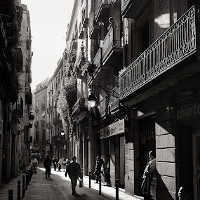 beam of leisure by Joan Vega - City,  Street & Park  Street Scenes ( b&w, street, day, barcelona )