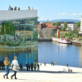 REFLECTIONS IN THE GLASS WALL by Wojtylak Maria - City,  Street & Park  Vistas ( view, oslo, town, reflections, norway, people, building, glass wall,  )
