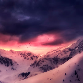 Cold Mountains by Dominic Wade - Digital Art Places ( clouds, mountains, oil paint filter, image composition, snow, adobe photoshop, landscape, birds, skies, google nik collection )